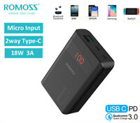 ROMOSS 18W PD QC3.0 10000mAh Portable Charger Power Bank USB-C External Battery