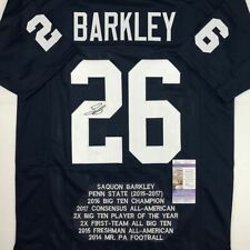 Autographed/Signed SAQUON BARKLEY Penn State Stat Blue Football Jersey JSA COA