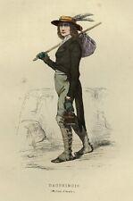 1842 LE DAUPHINOIS DAUPHINE Les Français ... estampe aquarellée époque