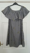New Look Off The Shoulder Dress. Size 10. Black/white Gingham With Yellow...