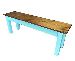 Vintage Blue Farmhouse Bench (Rustic / Dinning / Entryway / Mudroom  Foyer Bench