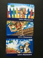 Telecom Telstra 1995 Year Of Tolerance Complete Set 3 phonecards Fine Used