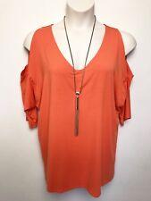 MELA PURDIE orange open shoulder top sz 14 batwing sleeve