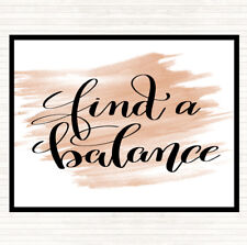 Watercolour Find A Balance Quote Dinner Table Placemat