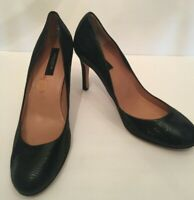 Ann Taylor Womens Classic Pumps Size 8M Black Embossed Lizard Leather Heels