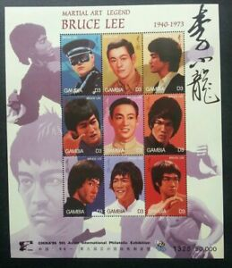 [SJ] Gambia Bruce Lee Martial Art Legend 1996 Chinese Movie 中国李小龙 (sheetlet) MNH