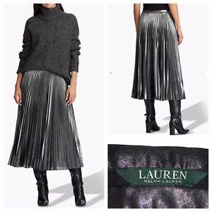 LAUREN Ralph Lauren Suzu Pleated Midi Skirt Silver NEW RRP £155