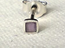 SINGLE UNISEX STERLING SILVER & AMETHYST SMALL SQUARE 3mm STUD EARRING £3.50 NWT