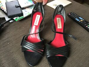 Diana Ferrari black suede and leather open toe heels size 6.5 Hardly used