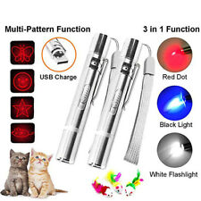 Fashion 3 In1 Red Laser Pointer Pen Led Light Usb Charging Children Cat Toy Gift