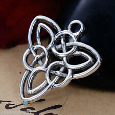 10PCs Silver Tone Hollowed Celtic Knot Triangle Pendant Necklace 24x22mm