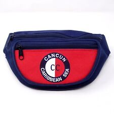 Cancun Caribbean Sea Fanny Pack Navy Blue Red Vacation 2 Pocket Adjustable Strap