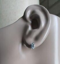 Sterling Silver Oval Aquamarine Stud Earring Pierced