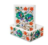 marble jewelry Box Semi Precious Inlaid stones art Work home decor / gifts