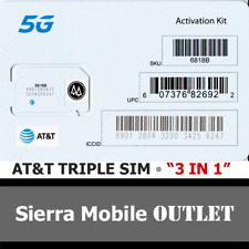 "At&T 5G & 4G Triple Sim Card ""3 In 1"" Mini 2Ff • Micro 3Ff • Nano 4Ff Gsm • Att"