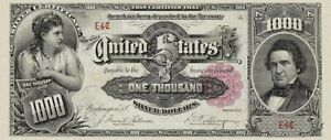 United States, Silver Certificates $1 - $1000, 1891, Complete Set REPRODUCTION