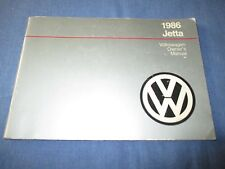 1986 VOLKSWAGEN VW JETTA OWNERS MANUAL