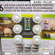 6 LED Puck Lights-Wireless,with Remote Control & Batteries by Capstone,NEW !