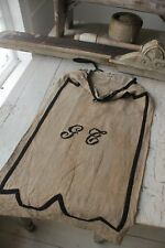Antique Sack Monogrammed Linen & Black Embroidery Bag French Vintage Textile