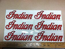 Lot of 6 vintage Indian Decals.  3 1/2 x 10 inches. NOS stickers