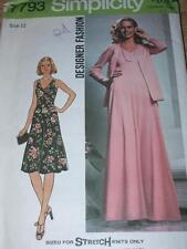 1976 SIMPLICITY #7793-LADIES FLOOR~KNEE LENGTH DISCO DRESS & JACKET PATTERN 12FF