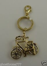 Bling crystal bag tag  key chain purse charm goldtone bike bicycle  keychain