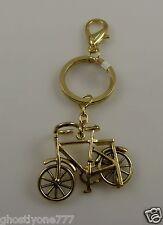Bling crystal bag tag  key chain purse charm goldtone bike bicycle  keychain