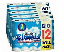 60 ROLLS  3PLY WHITE SOFT QUILTED LUXURY TOILET BATHROOM QUALITY