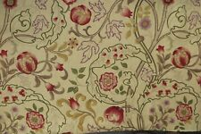 "WILLIAM MORRIS CURTAIN FABRIC ""Mary Isobel"" 2.4 METRES RED & GOLD 100% LINEN"