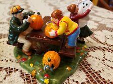 Dept 56 1999 Preparing For Halloween Pumpkin Carving/Raking Leaves Picnic Table