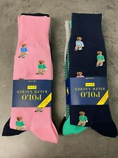 Polo Ralph Lauren 4 Pk Golfer Preppy Bear Socks Navy Pink Polka Dot Stripe Pony