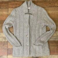 Kenar Womens Ladies Angora Blend Cardigan Jacket Sweater Gray Cable Knit Pockets