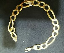 14k yellow solid gold bracelet,  9 inches,10 mm