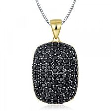 Black Gemstone Necklace Spinel Solid Gold Plated Pendant Women Necklace Jewelry