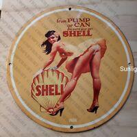 VINTAGE PORCELAIN 1956 SHELL GASOLINE OIL PETROLIANA PUMP MAN CAVE GARAGE SIGN