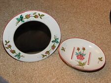 VINTAGE ITALIAN POTTERY FOOTED SOAP DISH & VANITY MAKE-UP MIRROR HANDPAINTED ROS