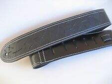 LEATHER BLACK DISTRESSED BASS ELECTRIC GUITAR STRAP