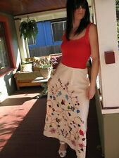 """Vintage Mexican Elaborate Hand Embroidered Skirt W30"""""""