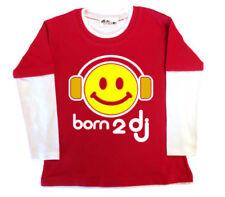 Camisetas de niño de 2 a 16 años manga larga color principal rojo 100% algodón
