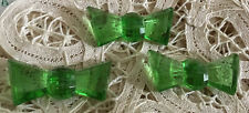 Vintage Green Glass Bow Buttons