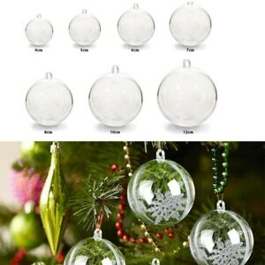 20/50 Clear Plastic Craft Ball Sphere Christmas Decoration baubles Wedding Xmas