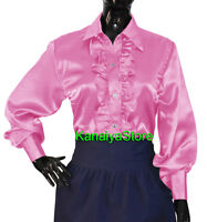 Pink Satin Button Down Solid Collar FRONT RUFFLE Shirt Long Sleeve Blouse