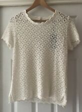 BNWT FAT FACE Cream Cornish Crochet Lace Knit TShirt Top - Size 12