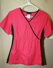 Cherokee pink red v neck short sleeve black accept scrub top good shape