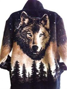 Black Mountain Starry Brown Wolf Ultra Plush Fleece Wolves Jacket New