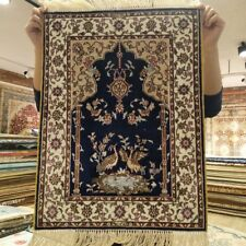 YILONG 1.5'x2' Salesman Sample Handwoven Silk Area Rug Floral Tapestry