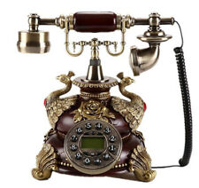 Vintage Antique Retro Caller ID Handset Desk wood Telephone Hand free Peacock A