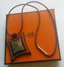 Authentic HERMES Touareg Silver 925 and Burgundy Leather Pendant and Necklace