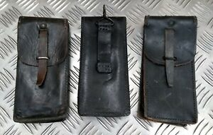Genuine Vintage Military Issue Old Leather Utility Pouch With Belt Loop & Ring