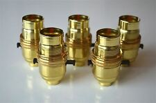SET OF 5 SWITCH BRASS BAYONET FITTING LAMP BULB HOLDER C/W SHADE RING 10MM L9